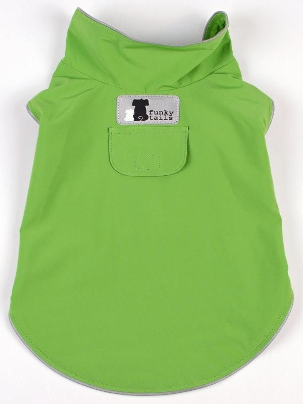 Funky Tails Dog Raincoat Green
